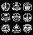 vintage white chess logos set vector image