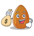 with money bag almond nut character cartoon vector image vector image