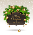 Wooden banner with christmas golden decoration vector | Price: 1 Credit (USD $1)