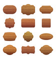 set of different shapes with wooden vector image