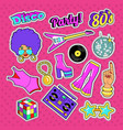 disco party doodle music fashion set with woman vector image
