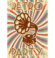 vintage advertising poster with gramophone vector image