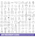 100 treatment icons set outline style vector image vector image