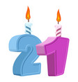 21 years birthday number with festive candle for vector image vector image