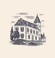 alcohol production plant cognac castle engraved vector image vector image