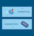 aqua activity women relaxing in summer pool vector image vector image