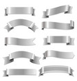big silver ribbons set vector image vector image