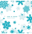 Blue Frost Snowflakes Frame Seamless Pattern vector image