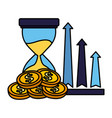 business hourglass arrows profit and coins vector image vector image
