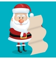 card santa with list gift blue bakcground vector image