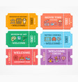 cartoon color different tickets icon set vector image vector image