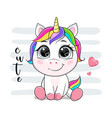 cartoon unicorn with text vector image vector image