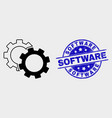 cogs icon and distress software seal vector image vector image