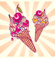 colorful ice cream with cherry summertime c vector image