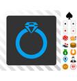 diamond ring blue icon with bonus vector image vector image