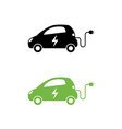 electric car with electrical charging cable icon vector image vector image