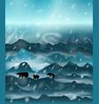 family polar bears walking at night vector image