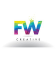 fw f w colorful letter origami triangles design vector image vector image