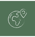 Globe with pointer icon drawn in chalk vector image vector image