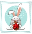 happy easter rabbit and multicolored eggs vector image vector image