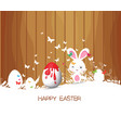 happy easter with bunny eggs painting colorful vector image vector image