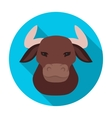 Head of bull icon in flat style isolated on white vector image