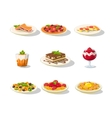 italian food icon set vector image vector image