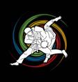 judo sport action cartoon graphic vector image