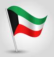 kuwaiti flag on pole vector image