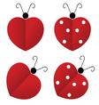 ladybug heart vector image vector image