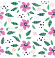 leaves and flowers hand drawn seamless pattern vector image