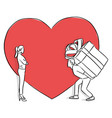 man carrying big gift for his lover in the vector image vector image