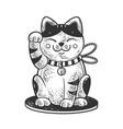 maneki neko cat sketch vector image
