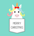 merry christmas unicorn horse sitting vector image