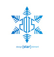 Original snowflake with new year date on white vector image vector image