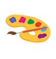 palette of paints and brush for drawing icon flat vector image