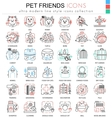pet friend color line outline icons vector image vector image
