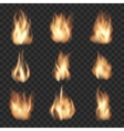 realistic fire flames on checkered vector image vector image
