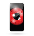 red realistic eyeball on a cell mobile phone vector image vector image
