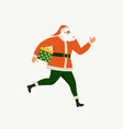 santa claus running with a gift box santa claus vector image