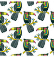 seamless pattern of cute colorful toucan in boho vector image vector image