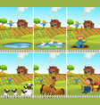 set animal and farmland vector image vector image