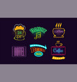 set bright neon signs for beer bar 24 open vector image