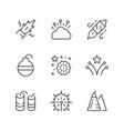 set line icons firework vector image
