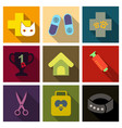 set of flat icons veterinary science vector image vector image