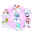 set of winter holidays snowman on background with vector image