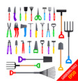 set various colorful gardening tools vector image vector image