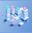 smart city building isometric concept vector image vector image