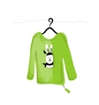 Sweater on hangers with funny rabbit design vector image vector image