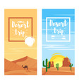 template for flyers for desert trip vector image vector image